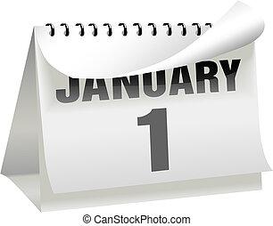 dzień, strona, 1, kalendarz, obraca, ufryzować, styczeń, lata, nowy