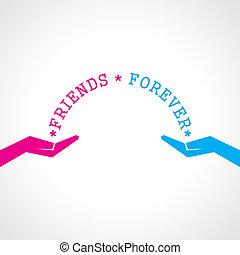 dzień, szczęśliwy, karta, przyjaźń, powitanie