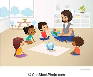 dzieciństwo, działalność, wektor, afisz, kula, posiedzenie, concept., flyer., lesson., ilustracja, nauczyciel, przedszkole, koło, wcześnie, podczas, uśmiechanie się, wykształcenie, widać, dzieci, preschool, geografia