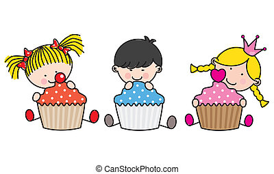 dzieci, cupcakes., barwny