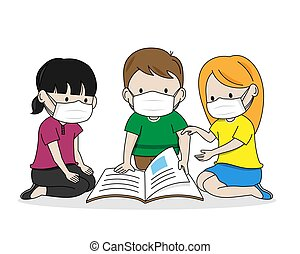 dzieci, czytanie, wektor, odizolowany, książka, masks.