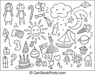 dzieci, doodle, życie, komplet, obiekty