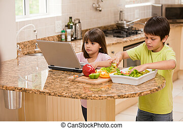dzieci, gotowanie, kuchnia