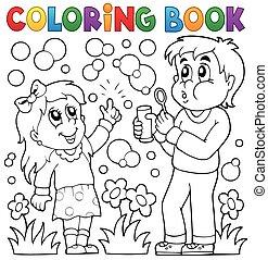 dzieci, kolorowanie, bańka, książka, zestaw