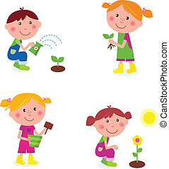dzieci, ogrodnictwo, zbiór