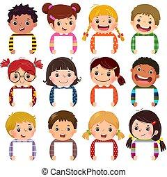 dzieci, portrety, grupa, czysty, szczęśliwy, multi, dzieciaki, signs., rysunek, etniczny, mały, dzierżawa, portraits., zbiór