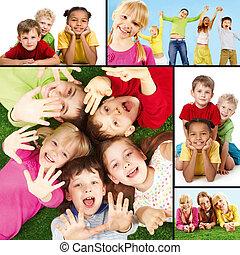 dzieci, radosny