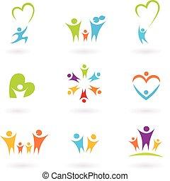dzieci, rodzina, współposiadanie, ikona