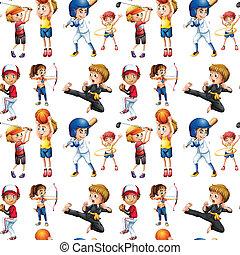 dzieci, seamless, lekkoatletyka