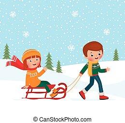 dzieci, sledding, zima