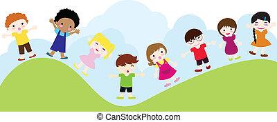 dzieci, tło, szczęśliwy