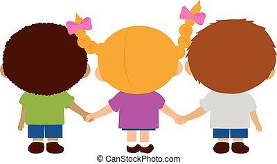 dzieci, tylny, dzierżawa, hands., ilustracja, prospekt, wektor