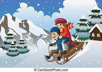 dzieciaki, śnieg, sledding