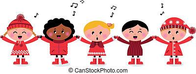 dzieciaki, śpiew, multicultural, kolędując, uśmiechanie się, śpiew, szczęśliwy