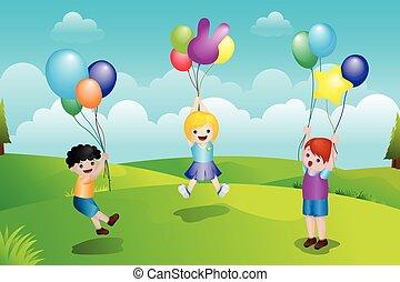 dzieciaki, balony, interpretacja