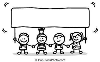 dzieciaki, chorągiew, szczęśliwy