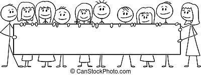 dzieciaki, dziewczyny, poziomy, opróżniać, rysunek, ilustracja, znak, albo, dzieci, grupa, dzierżawa, wektor, chłopcy, cielna