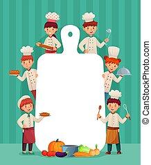 dzieciaki, frame., restauracja, jadło, menu, kuchmistrze, ilustracja, dzieci, mistrz kucharski, cięcie, wektor, okazały, kok, deska, rysunek
