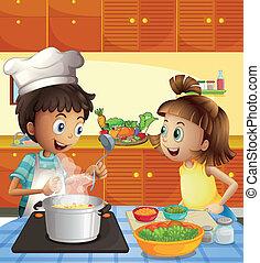 dzieciaki, gotowanie, kuchnia