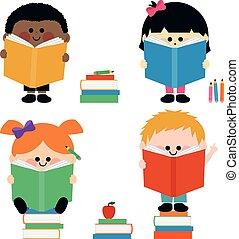 dzieciaki, grupa, books., ilustracja, wektor, czytanie