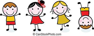 dzieciaki, grupa, doodle, odizolowany, biały, szczęśliwy