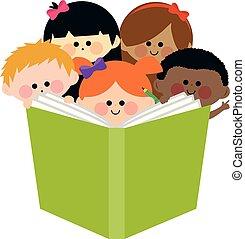 dzieciaki, grupa, ilustracja, wektor, book., czytanie