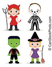 dzieciaki, halloween strój