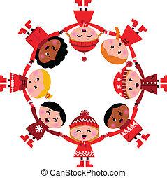 dzieciaki, illustration., circle., wektor, uśmiechnięty szczęśliwy, rysunek, zima