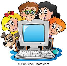 dzieciaki, komputer, pies, rysunek