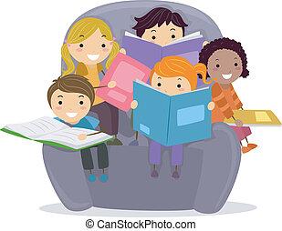dzieciaki, książki, czytanie