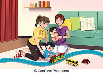 dzieciaki, młody, lesbijka, ich, rodzice, interpretacja