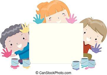 dzieciaki, malarstwo, deska, ilustracja, ręka