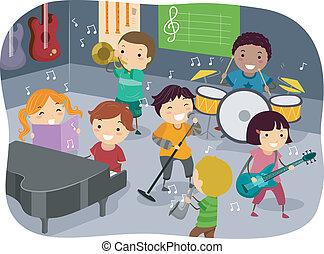 dzieciaki, muzykować pokój