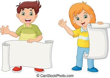 dzieciaki, papier, dzierżawa, czysty, rysunek, szczęśliwy