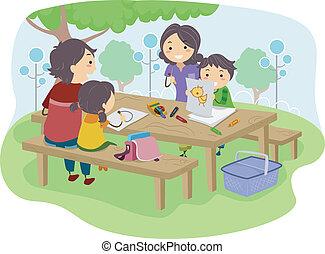 dzieciaki, park, rysunek, rodzina