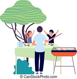 dzieciaki, partia., picnic., szczęśliwy, kebab, bbq, warzywa, jedzenie, children., wektor, ilustracja, rodzic, natura, podwórze