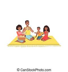 dzieciaki, piknik, dwa, rodzina