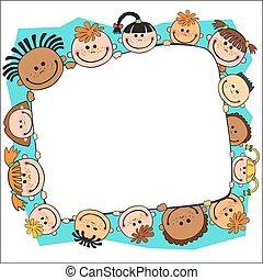 dzieciaki, podglądający, ilustracja, za, wektor, chorągiew