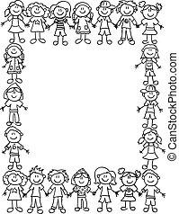 dzieciaki, przyjaźń, border-outline
