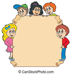 dzieciaki, różny, pergamin, przyczajony