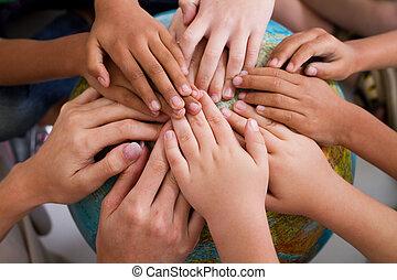 dzieciaki, rozmaitość, razem, siła robocza