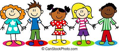 dzieciaki, rozmaitość, wtykać figurę, etniczny