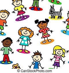 dzieciaki, seamless, figura, wtykać