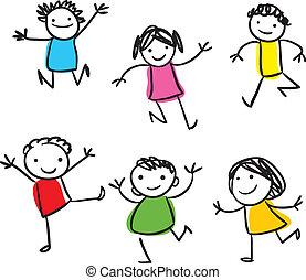 dzieciaki, skokowy, szczęśliwy