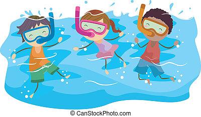 dzieciaki, snorkeling