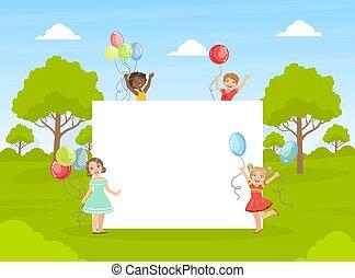 dzieciaki, sprytny, chorągiew, dzierżawa, barwny, ilustracja, czysty, opróżniać, szczęśliwy, wektor, balony