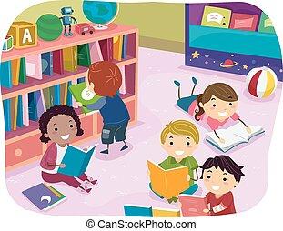 dzieciaki, stickman, czytanie, preschool, czas