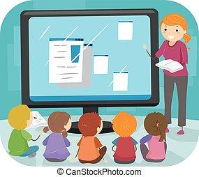 dzieciaki, stickman, klasa, komputer