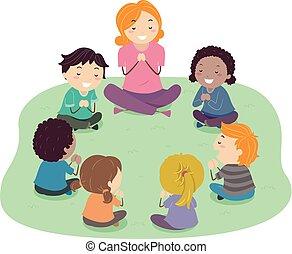 dzieciaki, stickman, nauczyciel, ilustracja, modlitwa