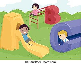 dzieciaki, stickman, plac gier i zabaw